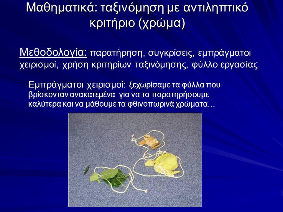 Μαθηματικά: ταξινόμηση με αντιληπτικό κριτήριο (χρώμα) Εμπράγματοι χειρισμοί: ξεχωρίσαμε τα φύλλα που βρίσκονταν ανακατεμένα για να τα παρατηρήσουμε κ