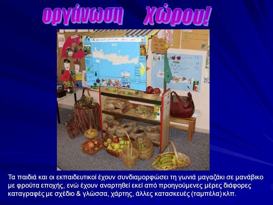 Τα παιδιά και οι εκπαιδευτικοί έχουν συνδιαμορφώσει τη γωνιά μαγαζάκι σε μανάβικο με φρούτα εποχής, ενώ έχουν αναρτηθεί εκεί από προηγούμενες μέρες δι