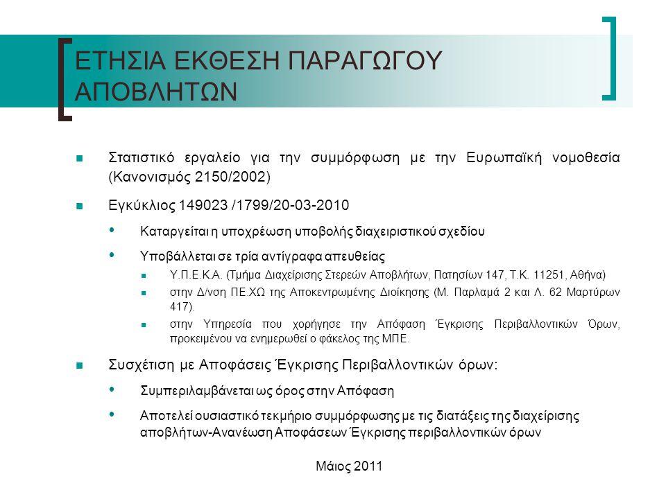 Μάιος 2011 ΕΤΗΣΙΑ ΕΚΘΕΣΗ ΠΑΡΑΓΩΓΟΥ ΑΠΟΒΛΗΤΩΝ  Στατιστικό εργαλείο για την συμμόρφωση με την Ευρωπαϊκή νομοθεσία (Κανονισμός 2150/2002)  Εγκύκλιος 14