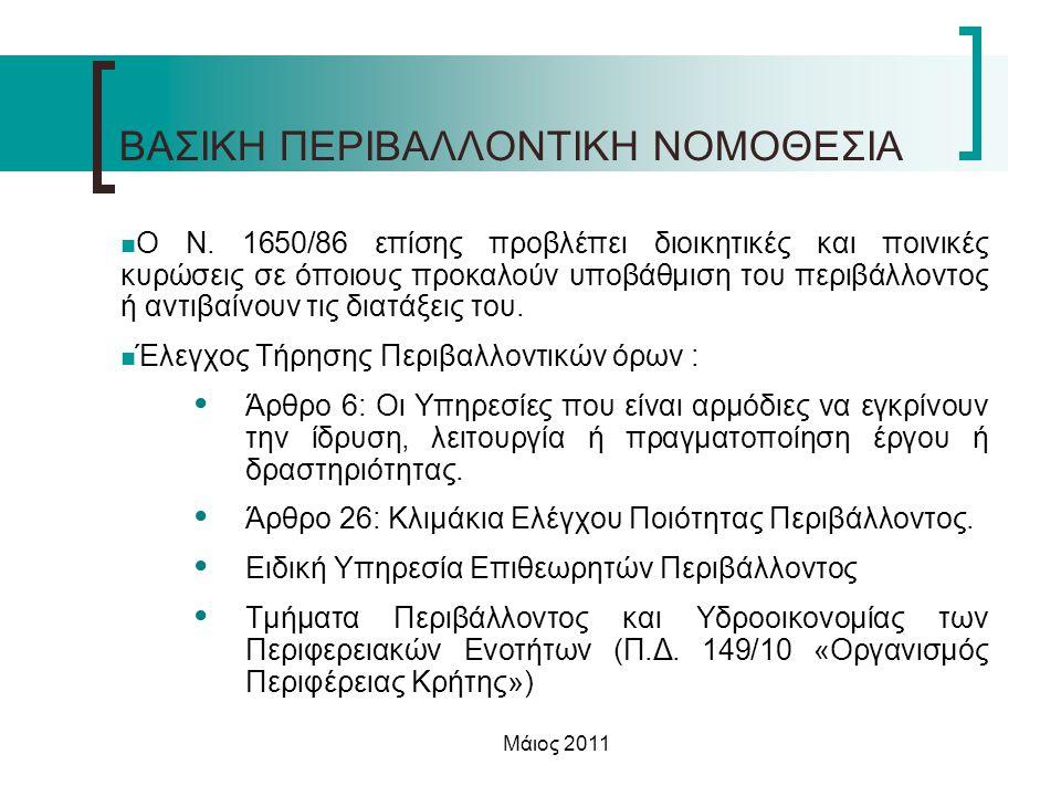 Μάιος 2011 ΒΑΣΙΚΗ ΠΕΡΙΒΑΛΛΟΝΤΙΚΗ ΝΟΜΟΘΕΣΙΑ  Ο Ν. 1650/86 επίσης προβλέπει διοικητικές και ποινικές κυρώσεις σε όποιους προκαλούν υποβάθμιση του περιβ
