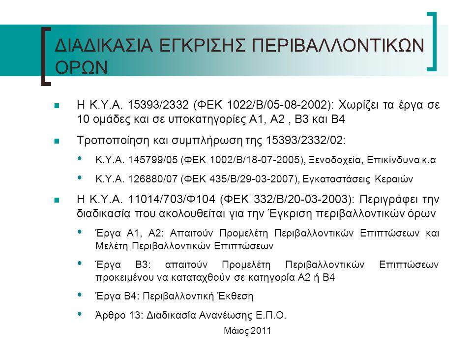 Μάιος 2011  Η Κ.Υ.Α. 15393/2332 (ΦΕΚ 1022/Β/05-08-2002): Χωρίζει τα έργα σε 10 ομάδες και σε υποκατηγορίες Α1, Α2, Β3 και Β4  Τροποποίηση και συμπλή