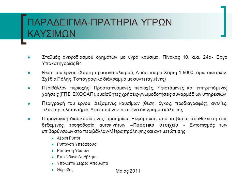 Μάιος 2011 1.Αέριοι Ρύποι  Εναρμόνιση της Ευρωπαϊκής νομοθεσίας με την Κ.Υ.Α 10245/713/1997 (ΦΕΚ 311/Β/16-04-1997) «Μέτρα και όροι για τον έλεγχο των εκπομπών πτητικών οργανικών ουσιών (VOC) που προέρχονται από την αποθήκευση βενζίνης και την διάθεση της από τις τερματικές εγκαταστάσεις στους σταθμούς διανομής καυσίμων»  Σύστημα ανάκτησης ατμών σε όλα τα πρατήρια έως το 2005  Το Π.Δ 118/2006 (ΦΕΚ 119/Α/16-06-2006) προδιαγράφει για τις νέες κατασκευές, αντλίες με δυνατότητα εφαρμογής και του συστήματος ανάκτησης ατμών 2.Ρύπανση Υπεδάφους  Π.Δ.