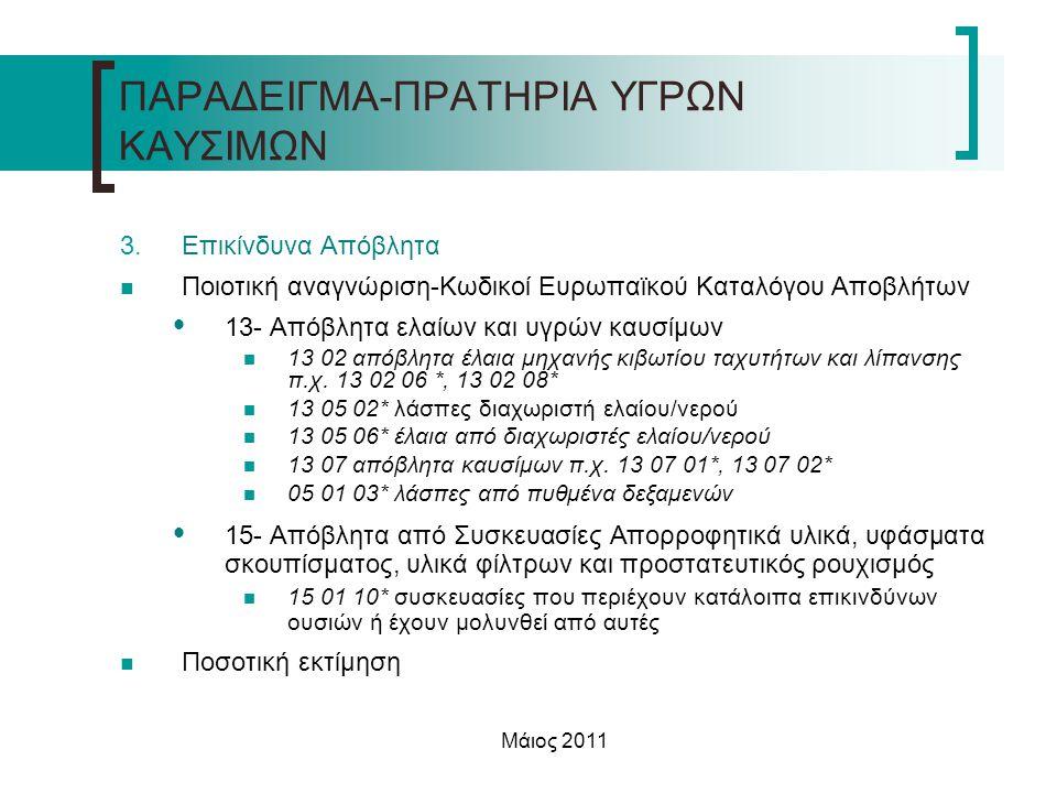 Μάιος 2011 3.Επικίνδυνα Απόβλητα  Ποιοτική αναγνώριση-Κωδικοί Ευρωπαϊκού Καταλόγου Αποβλήτων  13- Απόβλητα ελαίων και υγρών καυσίμων  13 02 απόβλητ