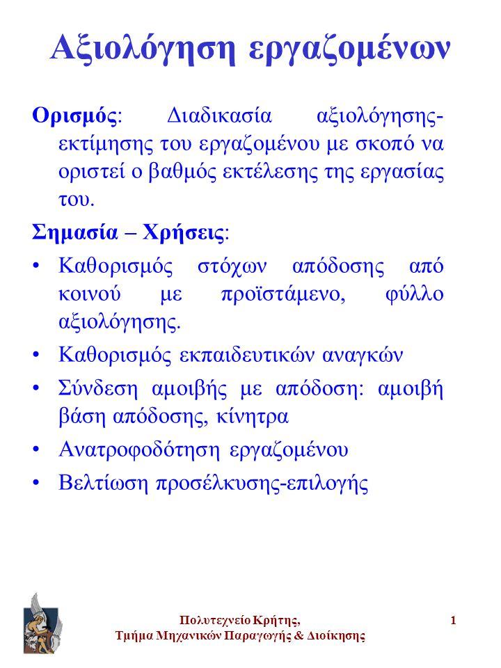 Πολυτεχνείο Κρήτης, Τμήμα Μηχανικών Παραγωγής & Διοίκησης 22 Έντυπο αξιολόγησης •Σύντομες οδηγίες χρήσης •Εταιρική ταυτότητα αξιολογούμενου και αξιολογητή •Πρώτο μέρος: Υπευθυνότητες στόχοι αξιολογούμενου •Δεύτερο μέρος: ικανότητες εργαζομένου, κλίμακες βαθμολόγησης, σχόλια, ισχυρά και αδύνατα σημεία εργαζομένου •Τρίτο μέρος: σχέδιο βελτίωσης και ανάπτυξης εργαζομένου •Προτάσεις αξιολογητή σχετικά με τις δυνατότητες εξέλιξης εργαζομένου