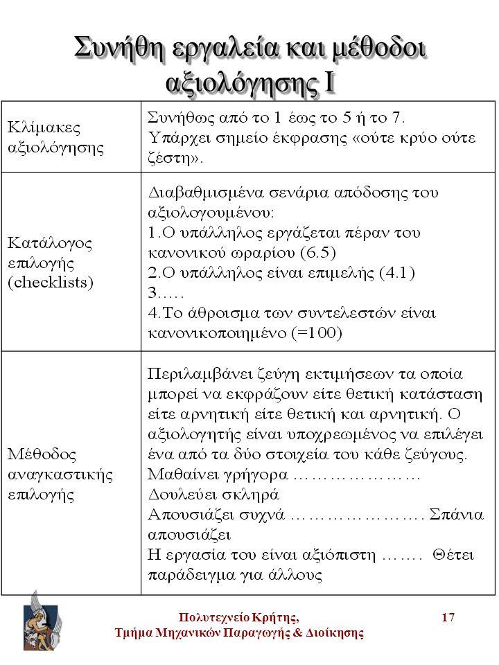 Πολυτεχνείο Κρήτης, Τμήμα Μηχανικών Παραγωγής & Διοίκησης 17 Συνήθη εργαλεία και μέθοδοι αξιολόγησης I
