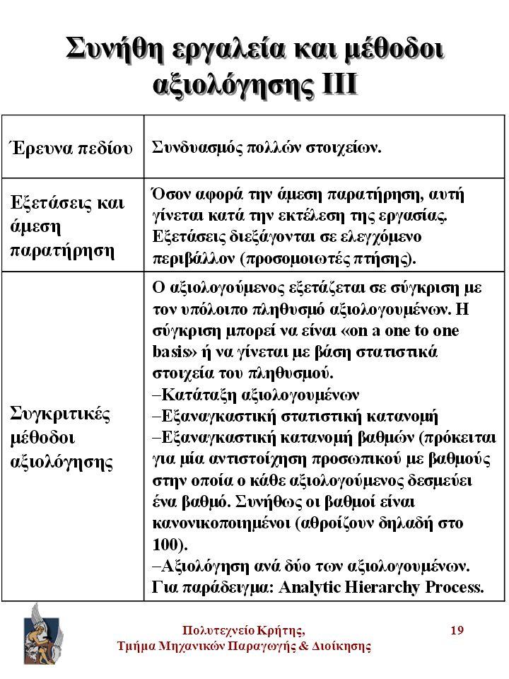 Πολυτεχνείο Κρήτης, Τμήμα Μηχανικών Παραγωγής & Διοίκησης 19 Συνήθη εργαλεία και μέθοδοι αξιολόγησης III
