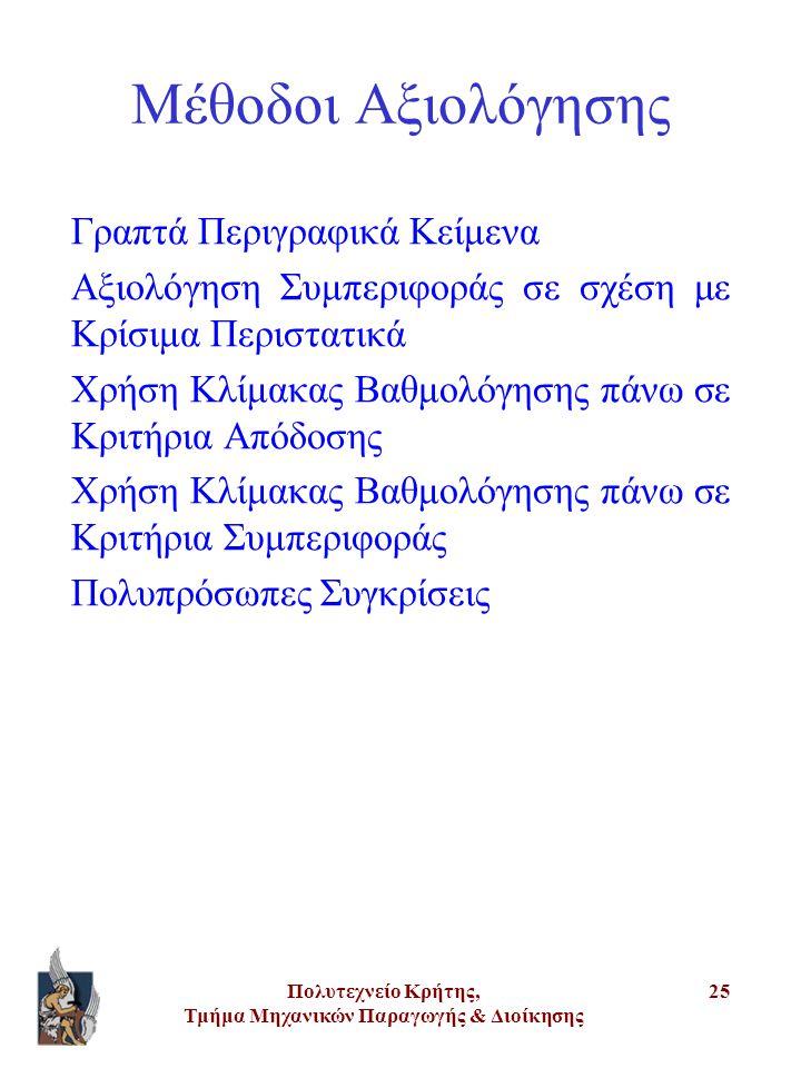 Πολυτεχνείο Κρήτης, Τμήμα Μηχανικών Παραγωγής & Διοίκησης 25 Μέθοδοι Αξιολόγησης Γραπτά Περιγραφικά Κείμενα Αξιολόγηση Συμπεριφοράς σε σχέση με Κρίσιμ