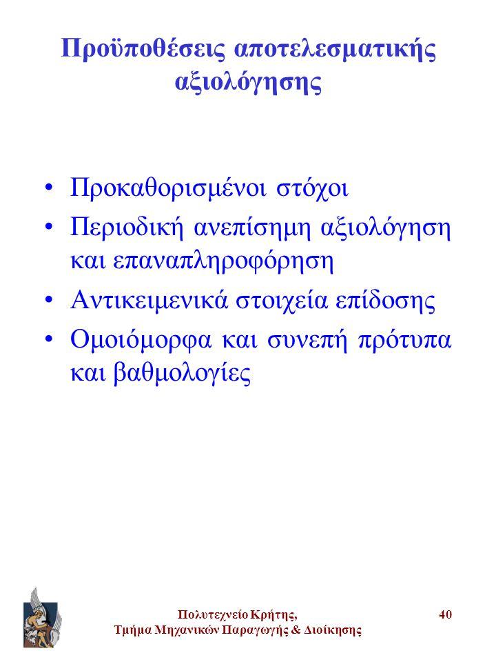 Πολυτεχνείο Κρήτης, Τμήμα Μηχανικών Παραγωγής & Διοίκησης 40 Προϋποθέσεις αποτελεσματικής αξιολόγησης •Προκαθορισμένοι στόχοι •Περιοδική ανεπίσημη αξι