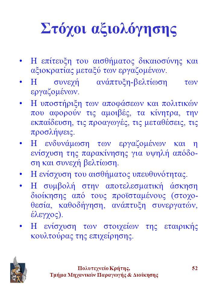 Πολυτεχνείο Κρήτης, Τμήμα Μηχανικών Παραγωγής & Διοίκησης 52 Στόχοι αξιολόγησης •Η επίτευξη του αισθήματος δικαιοσύνης και αξιοκρατίας μεταξύ των εργα