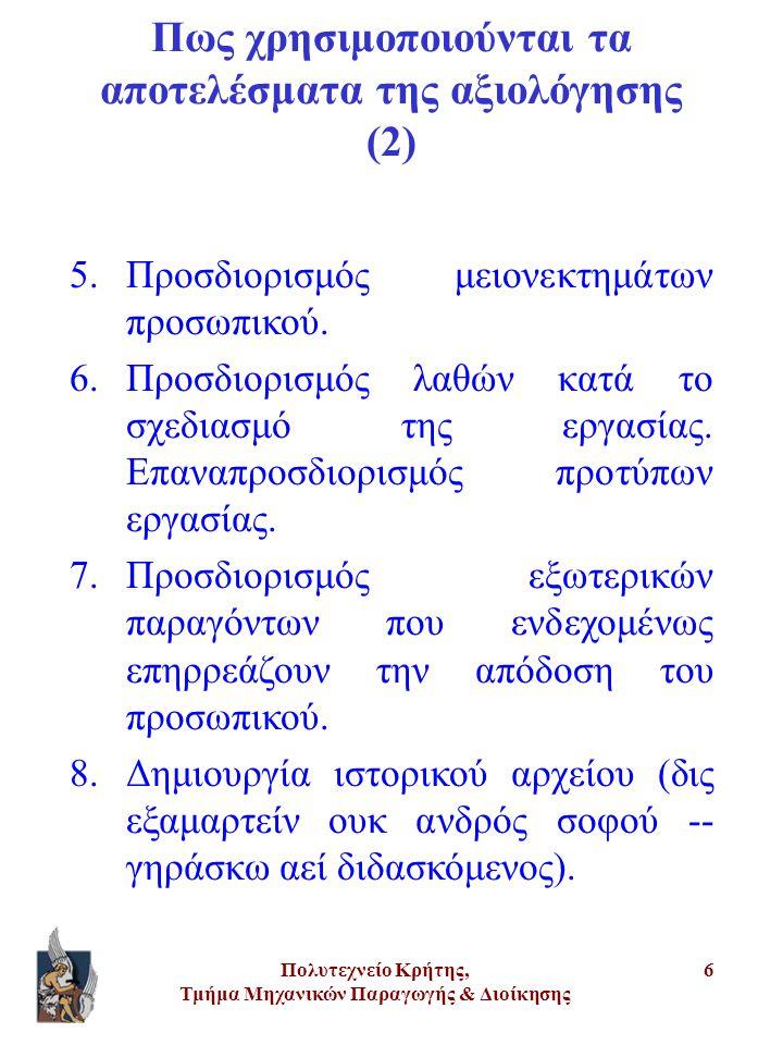 Πολυτεχνείο Κρήτης, Τμήμα Μηχανικών Παραγωγής & Διοίκησης 6 5.Προσδιορισμός μειονεκτημάτων προσωπικού. 6.Προσδιορισμός λαθών κατά το σχεδιασμό της εργ