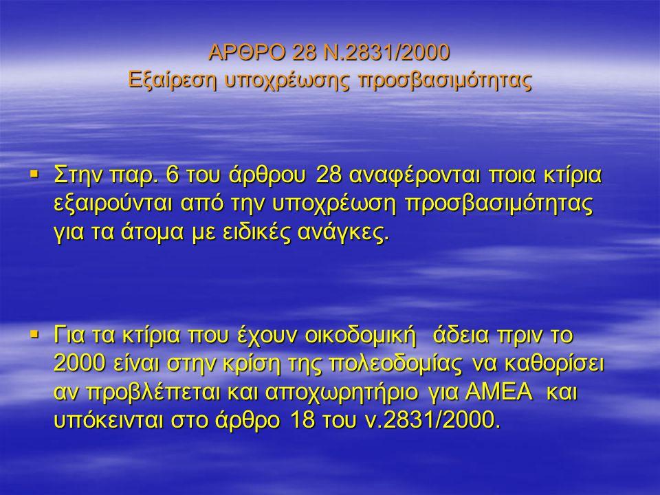 ΑΡΘΡΟ 28 Ν.2831/2000 Εξαίρεση υποχρέωσης προσβασιμότητας  Στην παρ. 6 του άρθρου 28 αναφέρονται ποια κτίρια εξαιρούνται από την υποχρέωση προσβασιμότ