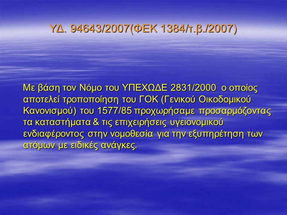 ΥΔ. 94643/2007(ΦΕΚ 1384/τ.β./2007) Με βάση τον Νόμο του ΥΠΕΧΩΔΕ 2831/2000 ο οποίος αποτελεί τροποποίηση του ΓΟΚ (Γενικού Οικοδομικού Κανονισμού) του 1