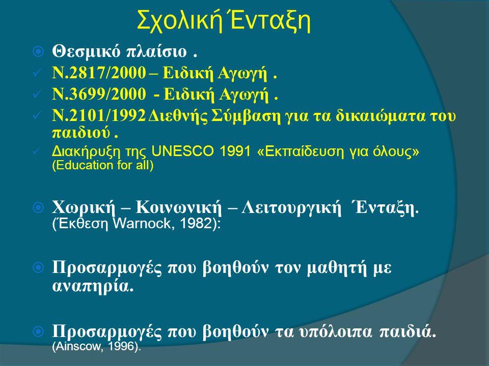 Σχολική Ένταξη  Θεσμικό πλαίσιο.  Ν.2817/2000 – Ειδική Αγωγή.  Ν.3699/2000 - Ειδική Αγωγή.  Ν.2101/1992 Διεθνής Σύμβαση για τα δικαιώματα του παιδ