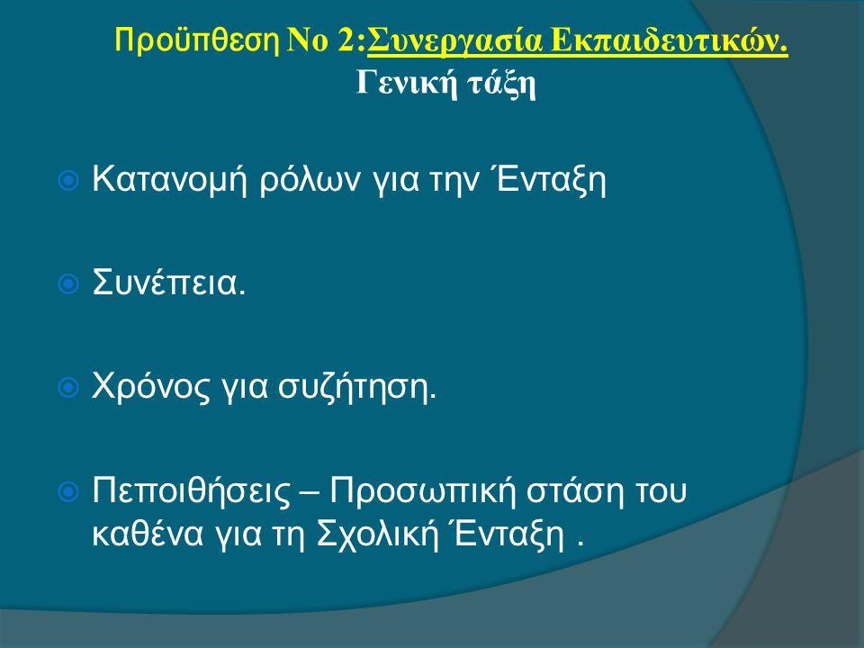 Προϋπθεση Νο 2:Συνεργασία Εκπαιδευτικών. Γενική τάξη  Κατανομή ρόλων για την Ένταξη  Συνέπεια.  Χρόνος για συζήτηση.  Πεποιθήσεις – Προσωπική στάσ