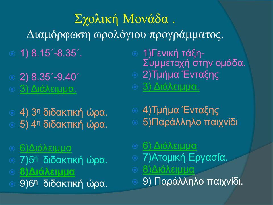 Σχολική Μονάδα. Διαμόρφωση ωρολόγιου προγράμματος.  1) 8.15΄-8.35΄.  2) 8.35΄-9.40΄  3) Διάλειμμα.  4) 3 η διδακτική ώρα.  5) 4 η διδακτική ώρα.