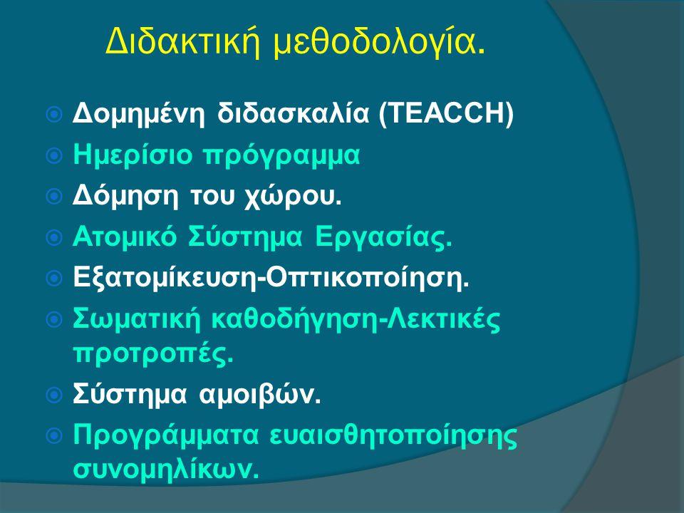 Διδακτική μεθοδολογία.  Δομημένη διδασκαλία (TEACCH)  Ημερίσιο πρόγραμμα  Δόμηση του χώρου.  Ατομικό Σύστημα Εργασίας.  Εξατομίκευση-Οπτικοποίηση