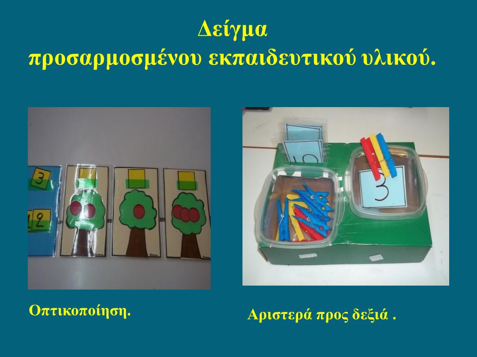 Δείγμα προσαρμοσμένου εκπαιδευτικού υλικού. Οπτικοποίηση. Αριστερά προς δεξιά.