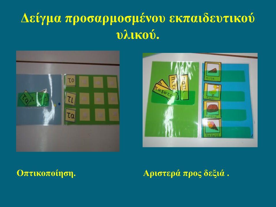 Δείγμα προσαρμοσμένου εκπαιδευτικού υλικού. Οπτικοποίηση.Αριστερά προς δεξιά.