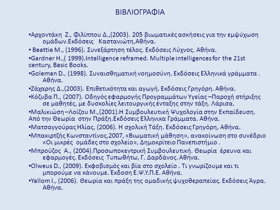 ΒΙΒΛΙΟΓΡΑΦΙΑ • Αρχοντάκη Ζ., Φιλίππου Δ.,(2003).