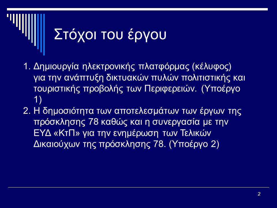 2 Στόχοι του έργου 1.Δημιουργία ηλεκτρονικής πλατφόρμας (κέλυφος) για την ανάπτυξη δικτυακών πυλών πολιτιστικής και τουριστικής προβολής των Περιφερει