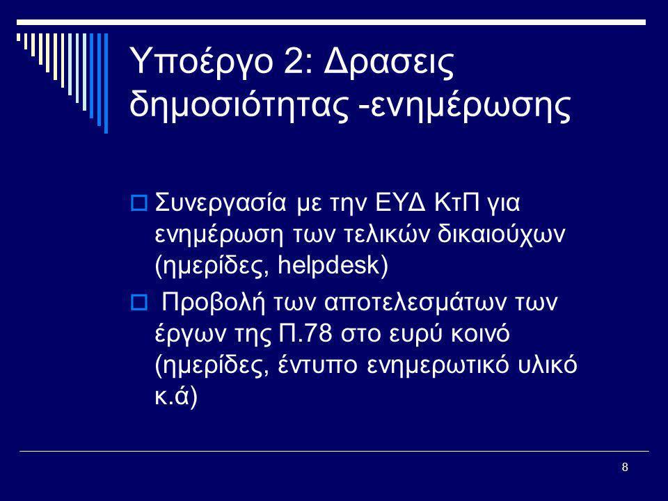 8 Υποέργο 2: Δρασεις δημοσιότητας -ενημέρωσης  Συνεργασία με την ΕΥΔ ΚτΠ για ενημέρωση των τελικών δικαιούχων (ημερίδες, helpdesk)  Προβολή των αποτελεσμάτων των έργων της Π.78 στο ευρύ κοινό (ημερίδες, έντυπο ενημερωτικό υλικό κ.ά)