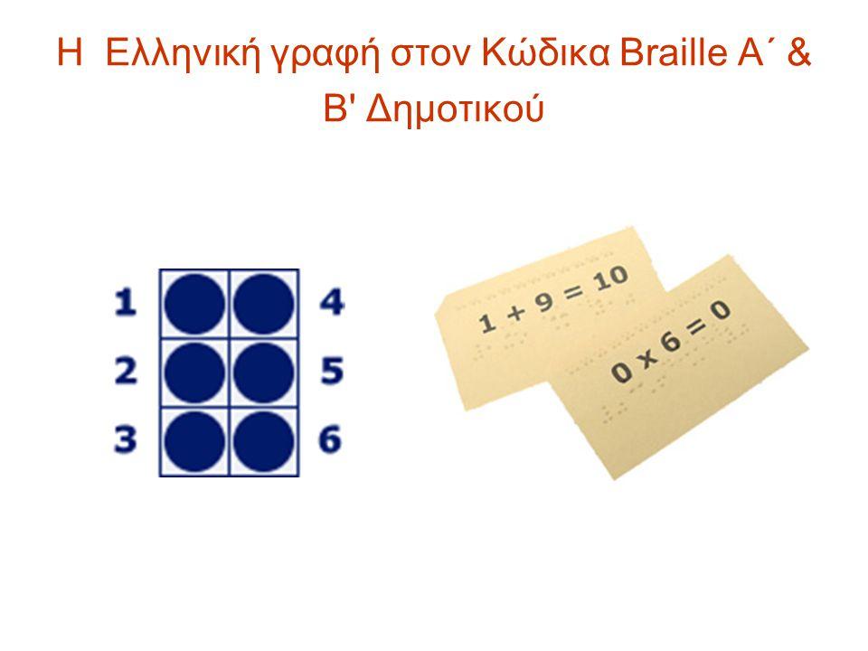 Η Ελληνική γραφή στον Κώδικα Braille Α΄ & Β' Δημοτικού