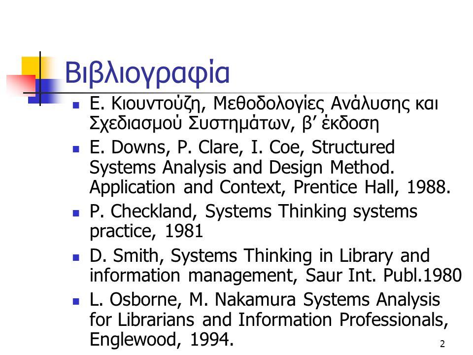 2 Βιβλιογραφία  Ε. Κιουντούζη, Μεθοδολογίες Ανάλυσης και Σχεδιασμού Συστημάτων, β' έκδοση  E. Downs, P. Clare, I. Coe, Structured Systems Analysis a