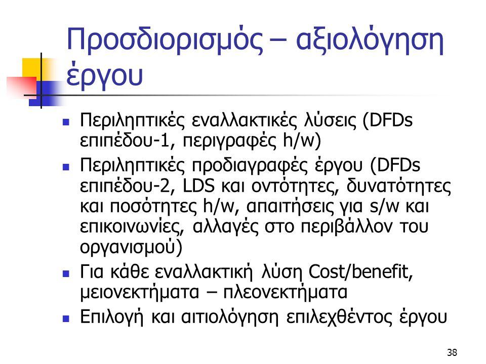 38 Προσδιορισμός – αξιολόγηση έργου  Περιληπτικές εναλλακτικές λύσεις (DFDs επιπέδου-1, περιγραφές h/w)  Περιληπτικές προδιαγραφές έργου (DFDs επιπέ