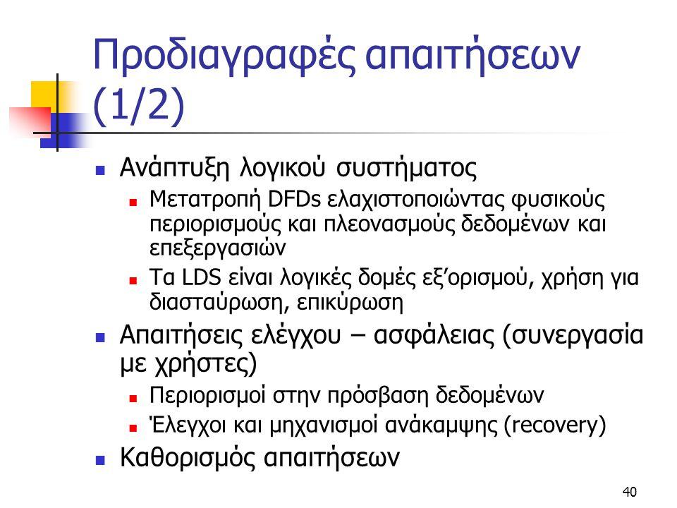 40 Προδιαγραφές απαιτήσεων (1/2)  Ανάπτυξη λογικού συστήματος  Μετατροπή DFDs ελαχιστοποιώντας φυσικούς περιορισμούς και πλεονασμούς δεδομένων και ε