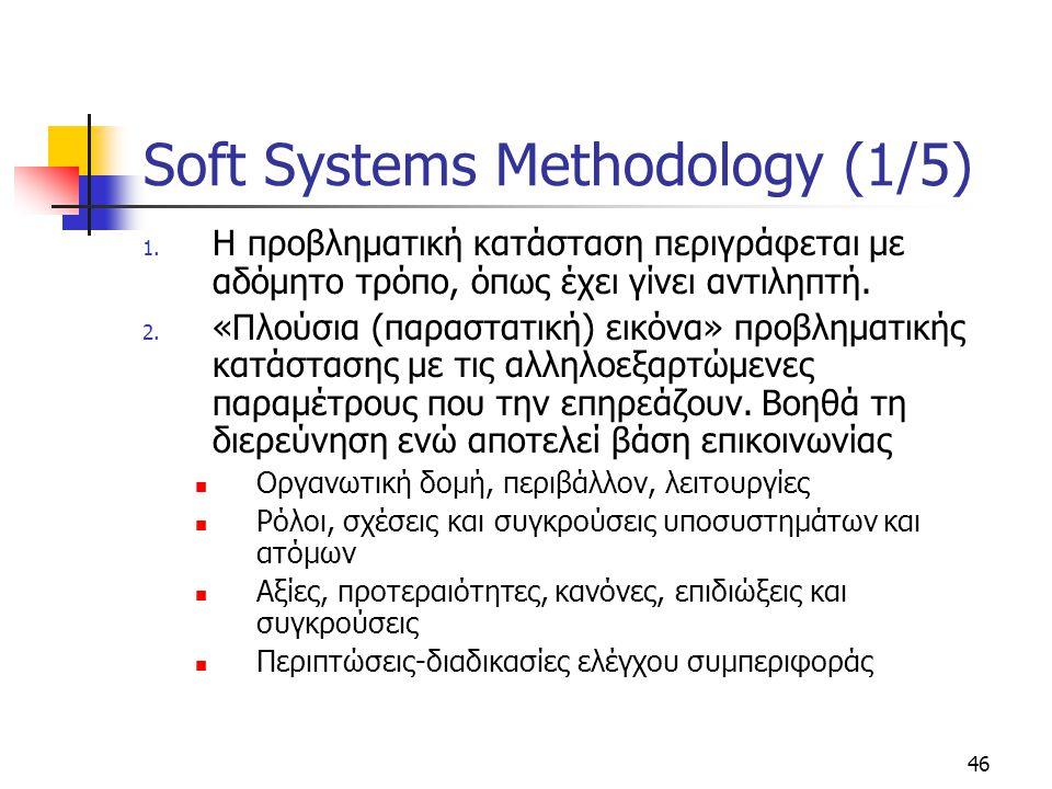 46 Soft Systems Methodology (1/5) 1. Η προβληματική κατάσταση περιγράφεται με αδόμητο τρόπο, όπως έχει γίνει αντιληπτή. 2. «Πλούσια (παραστατική) εικό