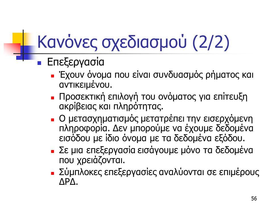 56 Κανόνες σχεδιασμού (2/2)  Επεξεργασία  Έχουν όνομα που είναι συνδυασμός ρήματος και αντικειμένου.  Προσεκτική επιλογή του ονόματος για επίτευξη
