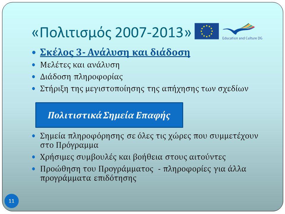 « Πολιτισμός 2007-2013»  Σκέλος 3- Ανάλυση και διάδοση  Μελέτες και ανάλυση  Διάδοση πληροφορίας  Στήριξη της μεγιστοποίησης της απήχησης των σχεδίων  Σημεία πληροφόρησης σε όλες τις χώρες που συμμετέχουν στο Πρόγραμμα  Χρήσιμες συμβουλές και βοήθεια στους αιτούντες  Προώθηση του Προγράμματος - πληροφορίες για άλλα προγράμματα επιδότησης Πολιτιστικά Σημεία Ε π αφής 11