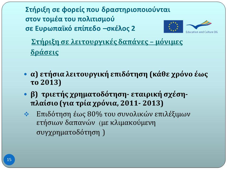 Στήριξη σε φορείς που δραστηριοποιούνται στον τομέα του πολιτισμού σε Ευρωπαϊκό επίπεδο – σκέλος 2 Στήριξη σε λειτουργικές δαπάνες – μόνιμες δράσεις  α ) ετήσια λειτουργική επιδότηση ( κάθε χρόνο έως το 2013)  β ) τριετής χρηματοδότηση - εταιρική σχέση - πλαίσιο ( για τρία χρόνια, 2011- 2013)  Επιδότηση έως 80% του συνολικών επιλέξιμων ετήσιων δαπανών ( με κλιμακούμενη συγχρηματοδότηση ) 15