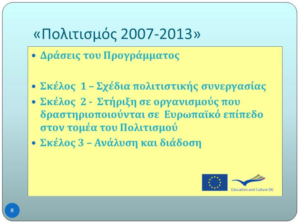 « Πολιτισμός 2007-2013»  Δράσεις του Προγράμματος  Σκέλος 1 – Σχέδια πολιτιστικής συνεργασίας  Σκέλος 2 - Στήριξη σε οργανισμούς που δραστηριοποιούνται σε Ευρωπαϊκό επίπεδο στον τομέα του Πολιτισμού  Σκέλος 3 – Ανάλυση και διάδοση 8