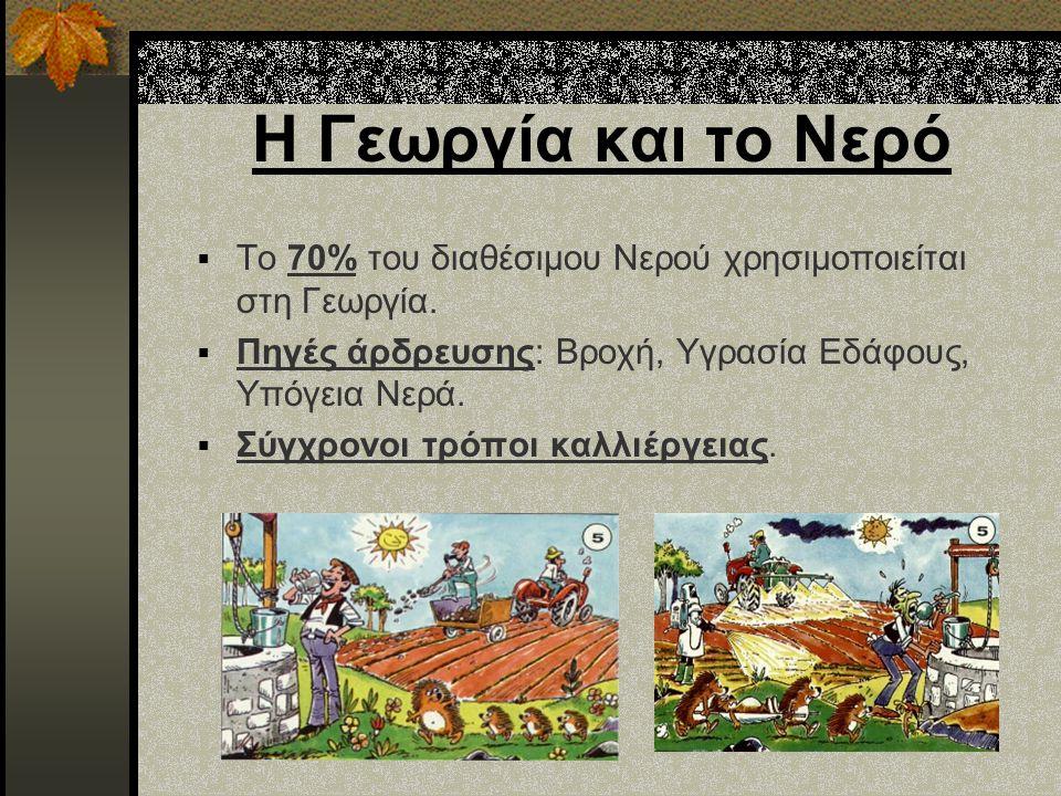 Η Γεωργία και το Νερό  Το 70% του διαθέσιμου Νερού χρησιμοποιείται στη Γεωργία.  Πηγές άρδρευσης: Βροχή, Υγρασία Εδάφους, Υπόγεια Νερά.  Σύγχρονοι