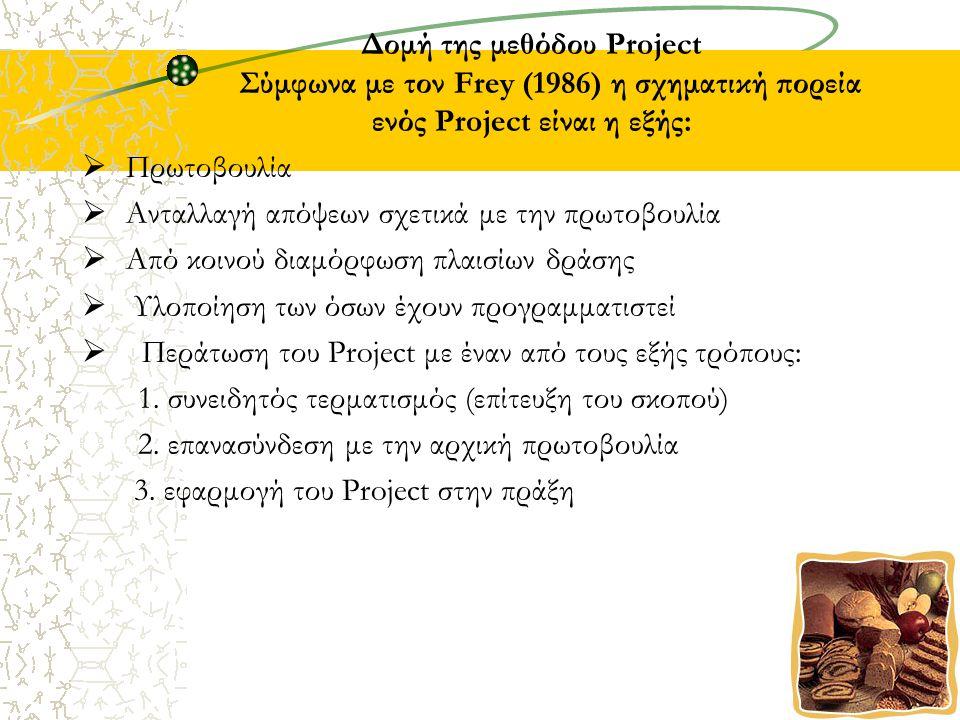 Δομή της μεθόδου Project Σύμφωνα με τον Frey (1986) η σχηματική πορεία ενός Project είναι η εξής:  Πρωτοβουλία  Ανταλλαγή απόψεων σχετικά με την πρωτοβουλία  Από κοινού διαμόρφωση πλαισίων δράσης  Υλοποίηση των όσων έχουν προγραμματιστεί  Περάτωση του Project με έναν από τους εξής τρόπους: 1.