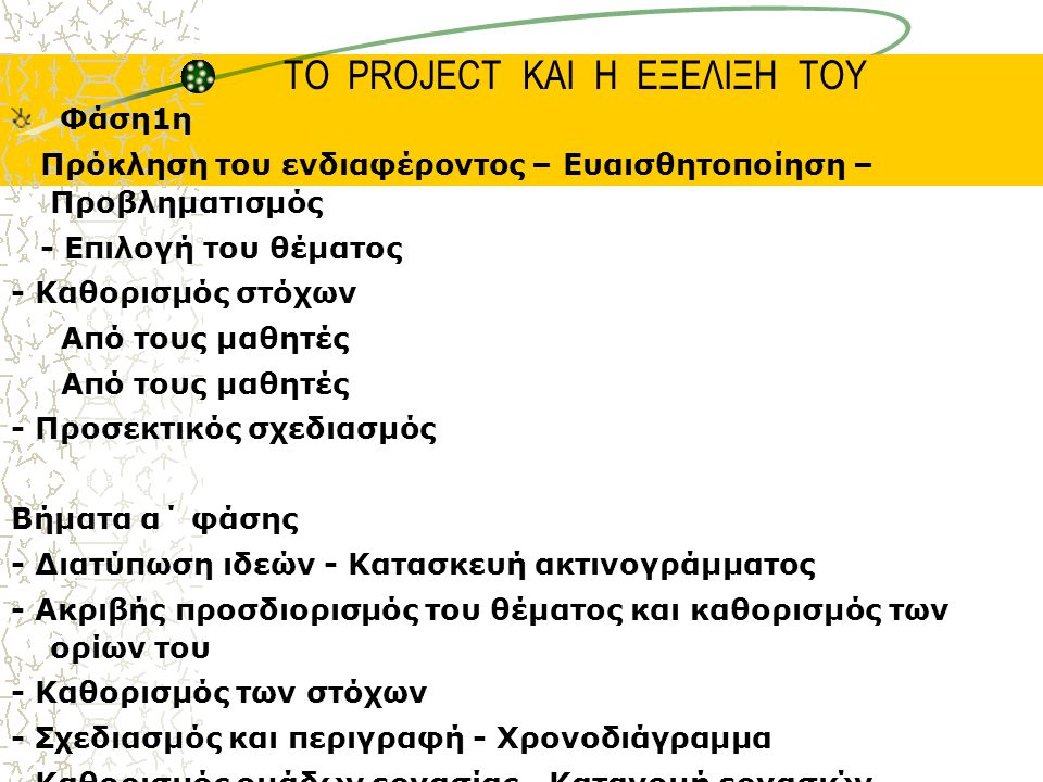 ΤΟ PROJECT ΚΑΙ Η ΕΞΕΛΙΞΗ ΤΟΥ Φάση1η Πρόκληση του ενδιαφέροντος – Ευαισθητοποίηση – Προβληματισμός - Επιλογή του θέματος - Καθορισμός στόχων Από τους μαθητές - Προσεκτικός σχεδιασμός Βήματα α΄ φάσης - Διατύπωση ιδεών - Κατασκευή ακτινογράμματος - Ακριβής προσδιορισμός του θέματος και καθορισμός των ορίων του - Καθορισμός των στόχων - Σχεδιασμός και περιγραφή - Χρονοδιάγραμμα - Καθορισμός ομάδων εργασίας - Κατανομή εργασιών