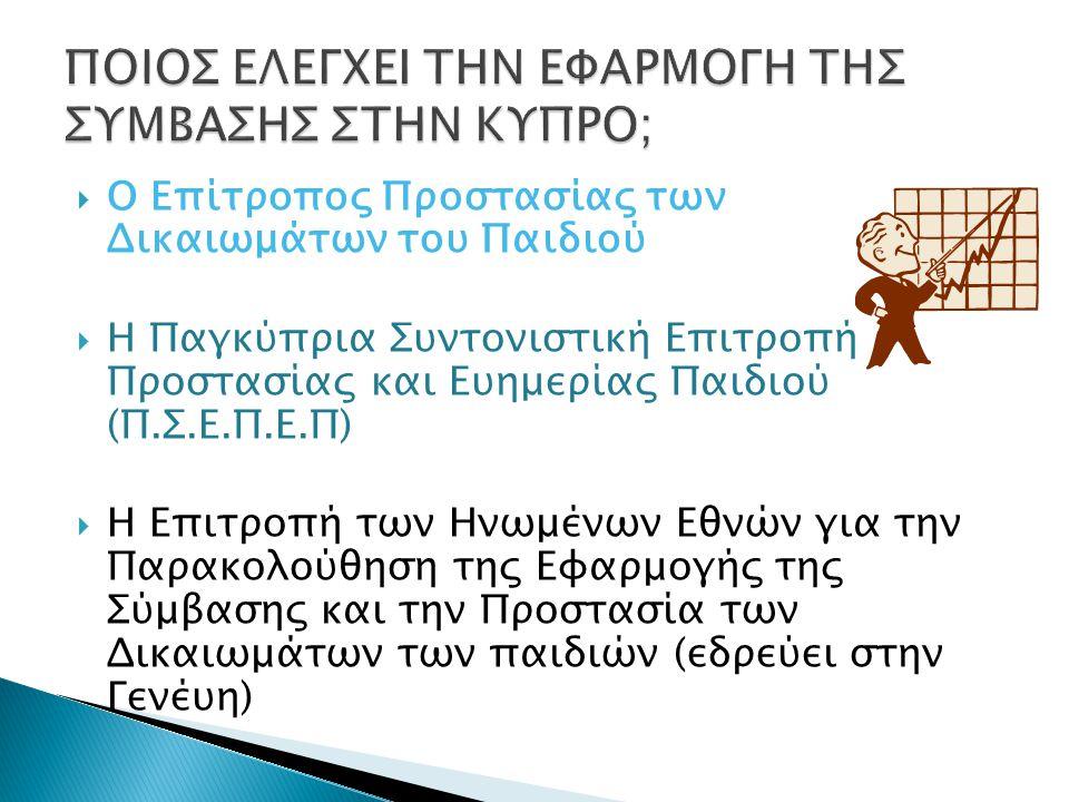  Ο Επίτροπος Προστασίας των Δικαιωμάτων του Παιδιού  Η Παγκύπρια Συντονιστική Επιτροπή Προστασίας και Ευημερίας Παιδιού (Π.Σ.Ε.Π.Ε.Π)  Η Επιτροπή τ