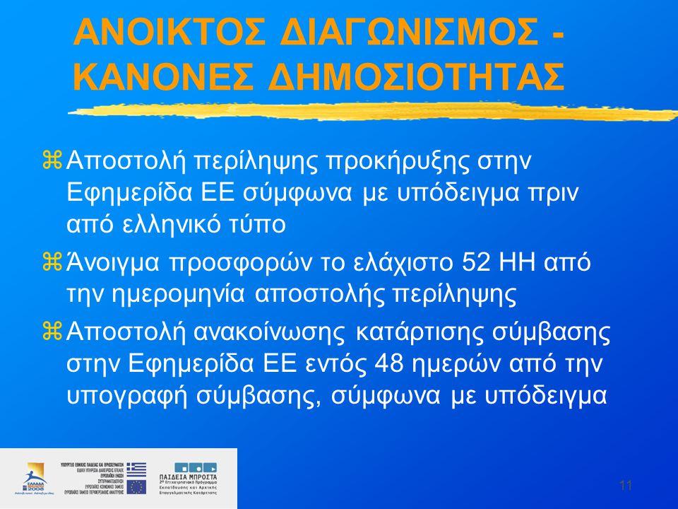 11 ΑΝΟΙΚΤΟΣ ΔΙΑΓΩΝΙΣΜΟΣ - ΚΑΝΟΝΕΣ ΔΗΜΟΣΙΟΤΗΤΑΣ zΑποστολή περίληψης προκήρυξης στην Εφημερίδα ΕΕ σύμφωνα με υπόδειγμα πριν από ελληνικό τύπο zΆνοιγμα προσφορών το ελάχιστο 52 ΗΗ από την ημερομηνία αποστολής περίληψης zΑποστολή ανακοίνωσης κατάρτισης σύμβασης στην Εφημερίδα ΕΕ εντός 48 ημερών από την υπογραφή σύμβασης, σύμφωνα με υπόδειγμα