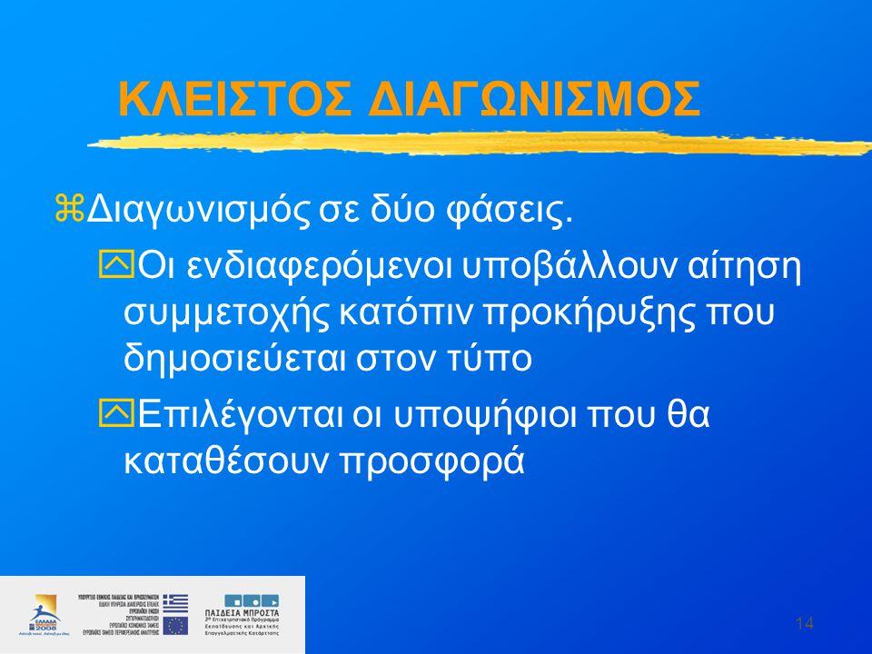 14 ΚΛΕΙΣΤΟΣ ΔΙΑΓΩΝΙΣΜΟΣ zΔιαγωνισμός σε δύο φάσεις. yΟι ενδιαφερόμενοι υποβάλλουν αίτηση συμμετοχής κατόπιν προκήρυξης που δημοσιεύεται στον τύπο yΕπι
