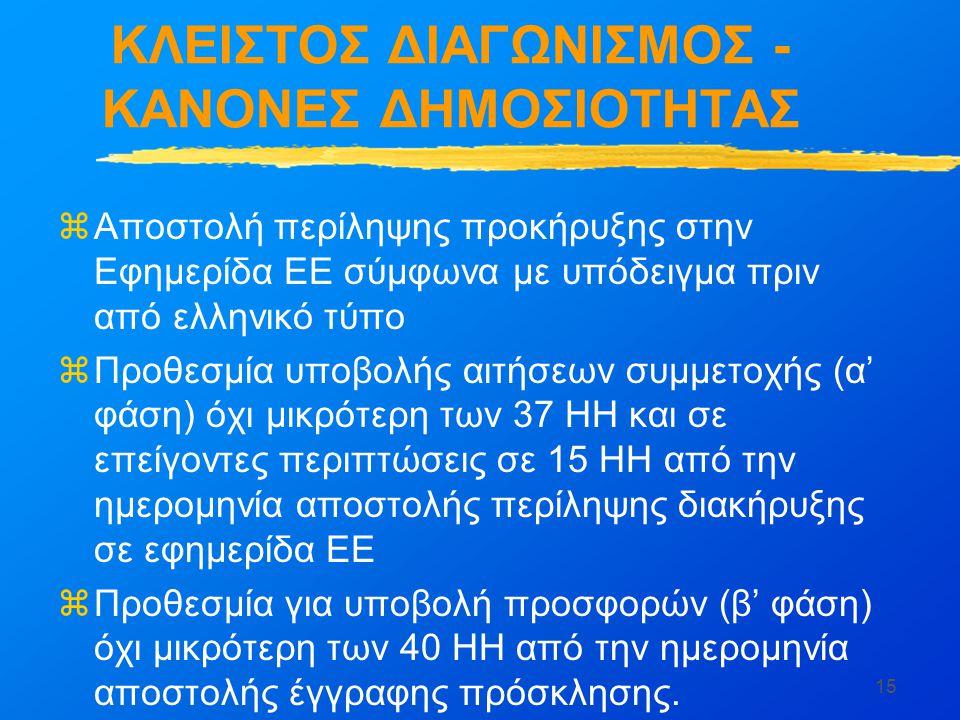 15 ΚΛΕΙΣΤΟΣ ΔΙΑΓΩΝΙΣΜΟΣ - ΚΑΝΟΝΕΣ ΔΗΜΟΣΙΟΤΗΤΑΣ zΑποστολή περίληψης προκήρυξης στην Εφημερίδα ΕΕ σύμφωνα με υπόδειγμα πριν από ελληνικό τύπο zΠροθεσμία υποβολής αιτήσεων συμμετοχής (α' φάση) όχι μικρότερη των 37 ΗΗ και σε επείγοντες περιπτώσεις σε 15 ΗΗ από την ημερομηνία αποστολής περίληψης διακήρυξης σε εφημερίδα ΕΕ zΠροθεσμία για υποβολή προσφορών (β' φάση) όχι μικρότερη των 40 ΗΗ από την ημερομηνία αποστολής έγγραφης πρόσκλησης.