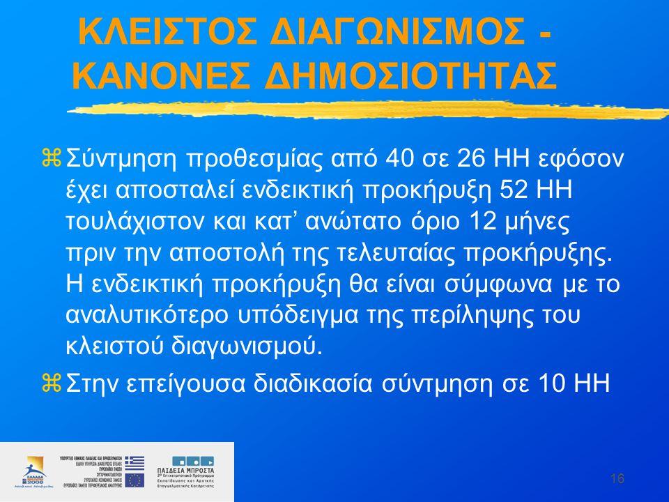 16 ΚΛΕΙΣΤΟΣ ΔΙΑΓΩΝΙΣΜΟΣ - ΚΑΝΟΝΕΣ ΔΗΜΟΣΙΟΤΗΤΑΣ zΣύντμηση προθεσμίας από 40 σε 26 ΗΗ εφόσον έχει αποσταλεί ενδεικτική προκήρυξη 52 ΗΗ τουλάχιστον και κατ' ανώτατο όριο 12 μήνες πριν την αποστολή της τελευταίας προκήρυξης.