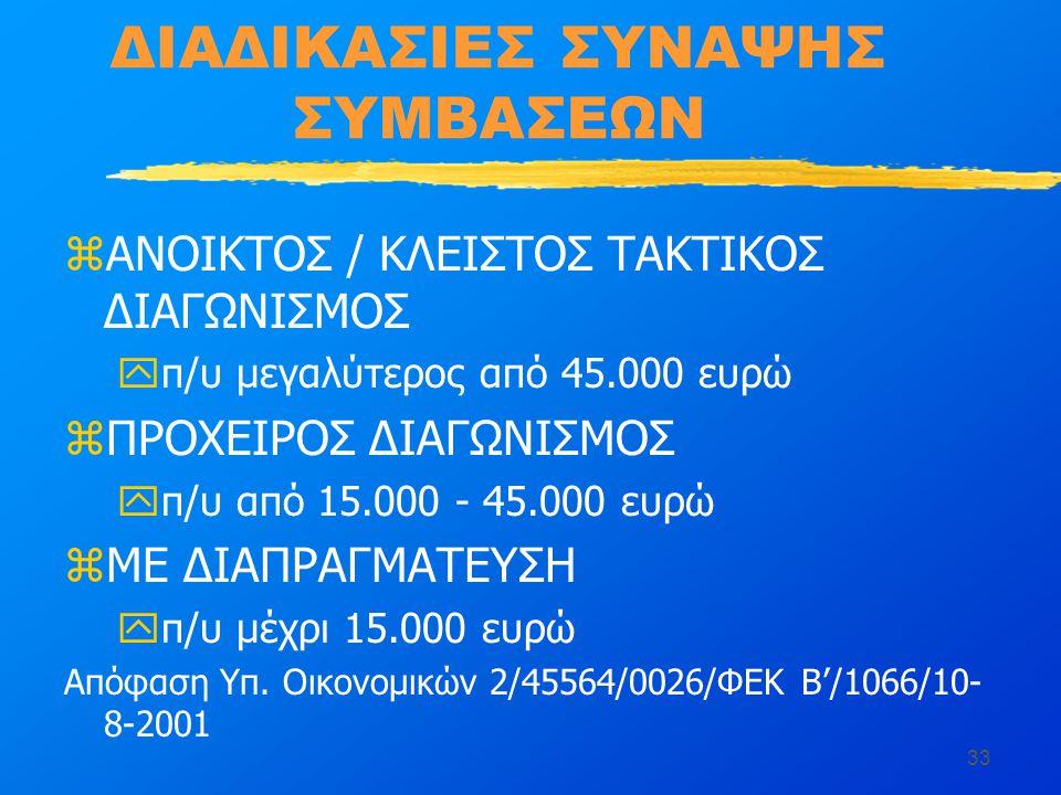 33 ΔΙΑΔΙΚΑΣΙΕΣ ΣΥΝΑΨΗΣ ΣΥΜΒΑΣΕΩΝ zΑΝΟΙΚΤΟΣ / ΚΛΕΙΣΤΟΣ ΤΑΚΤΙΚΟΣ ΔΙΑΓΩΝΙΣΜΟΣ yπ/υ μεγαλύτερος από 45.000 ευρώ zΠΡΟΧΕΙΡΟΣ ΔΙΑΓΩΝΙΣΜΟΣ yπ/υ από 15.000 - 45.000 ευρώ zΜΕ ΔΙΑΠΡΑΓΜΑΤΕΥΣΗ yπ/υ μέχρι 15.000 ευρώ Απόφαση Υπ.