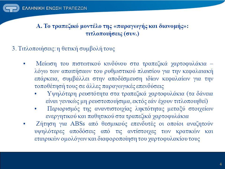 5 Α.Το τραπεζικό μοντέλο της «παραγωγής και διανομής»: τιτλοποιήσεις (συν.) 4.