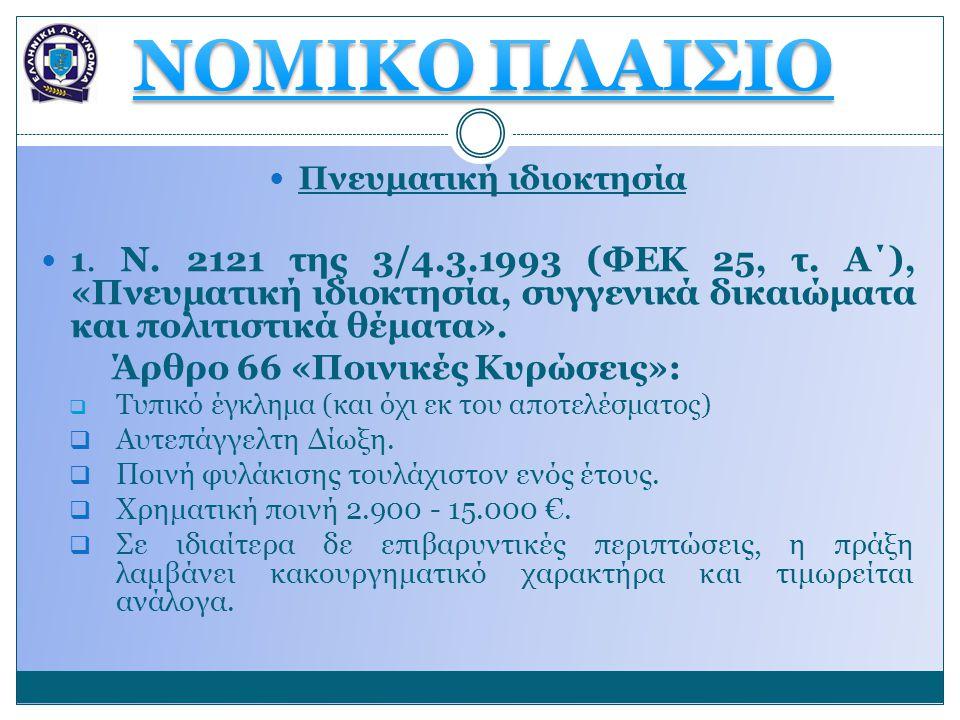  Πνευματική ιδιοκτησία  1. Ν. 2121 της 3/4.3.1993 (ΦΕΚ 25, τ. Α΄), «Πνευματική ιδιοκτησία, συγγενικά δικαιώματα και πολιτιστικά θέματα». Άρθρο 66 «Π
