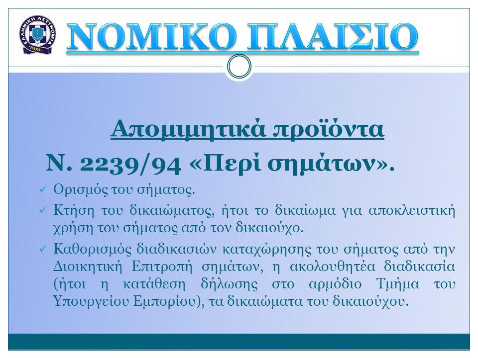 Απομιμητικά προϊόντα Ν. 2239/94 «Περί σημάτων ».  Ορισμός του σήματος.  Κτήση του δικαιώματος, ήτοι το δικαίωμα για αποκλειστική χρήση του σήματος α