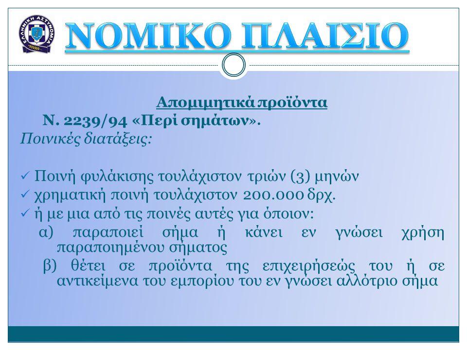 Απομιμητικά προϊόντα Ν. 2239/94 «Περί σημάτων ». Ποινικές διατάξεις:  Ποινή φυλάκισης τουλάχιστον τριών (3) μηνών  χρηματική ποινή τουλάχιστον 200.0