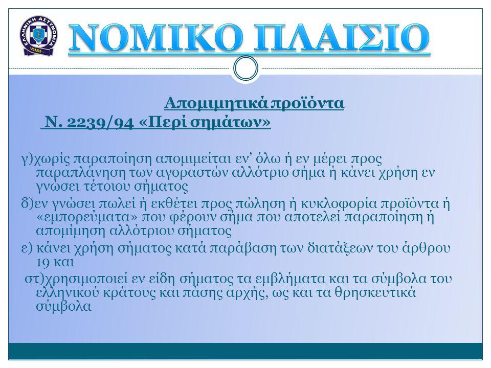 Απομιμητικά προϊόντα Ν. 2239/94 «Περί σημάτων» γ)χωρίς παραποίηση απομιμείται εν' όλω ή εν μέρει προς παραπλάνηση των αγοραστών αλλότριο σήμα ή κάνει