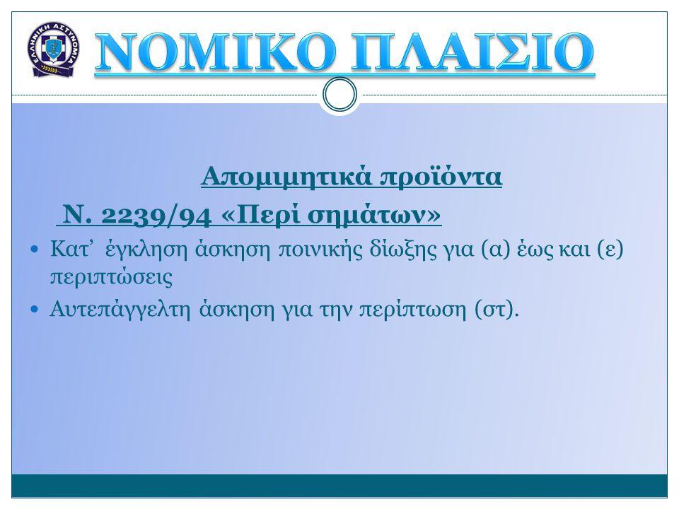Απομιμητικά προϊόντα Ν. 2239/94 «Περί σημάτων»  Κατ' έγκληση άσκηση ποινικής δίωξης για (α) έως και (ε) περιπτώσεις  Αυτεπάγγελτη άσκηση για την περ