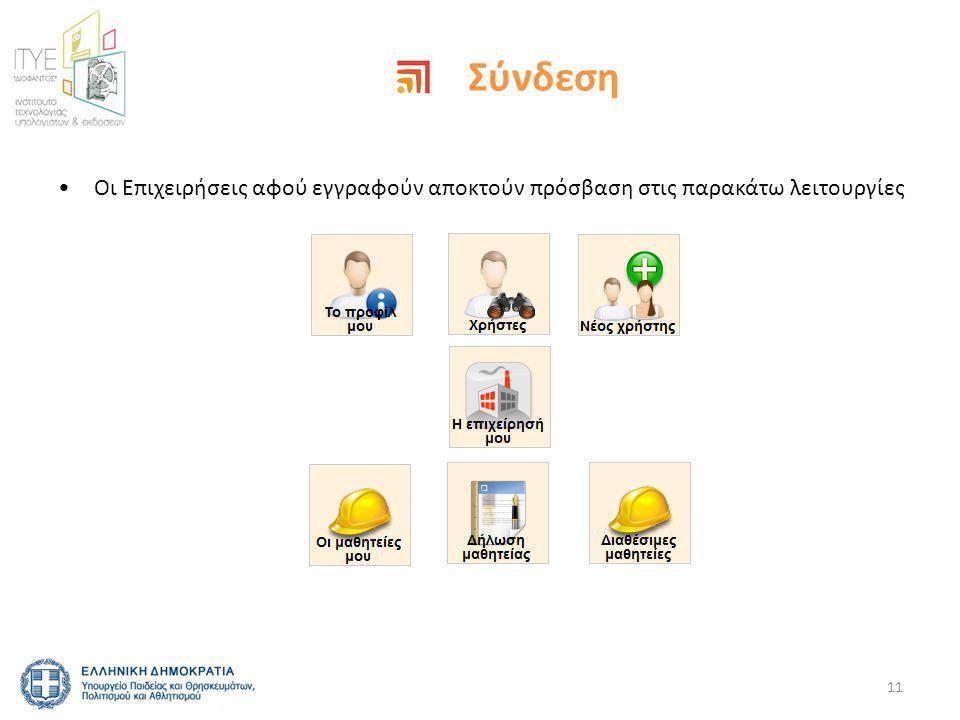Σύνδεση •Οι Επιχειρήσεις αφού εγγραφούν αποκτούν πρόσβαση στις παρακάτω λειτουργίες 11